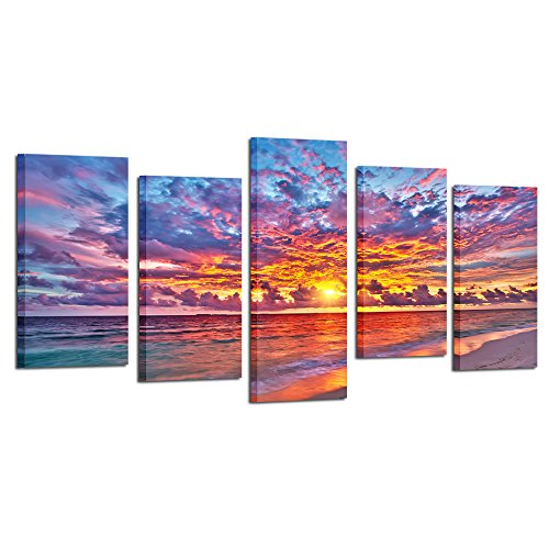 22' Art Print Poster (Kreative Arts - 5 Pieces Modern Canvas Painting Wall Art Colorful Sunset Over Ocean on Maldives Seascape Picture Print On Canvas Giclee Artwork For Wall Decor (Medium Size : L 40'' x H 22''))