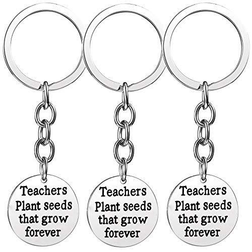 (Nzztont Pack of 3 Teacher Bangles Gifts for Teacher Open School Gifts for Teachers Thank You Bangle Bracelets (3PCs Keychain Style 04- Teachers Plant Seeds That Grow Forever))