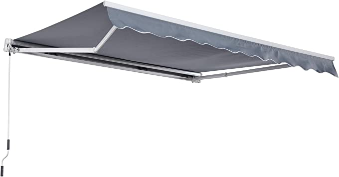 Outsunny Markise Gelenkarmmarkise Sonnenschutz Handkurbel Alu+Polyester Grau 3x2,5m