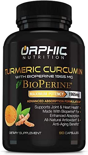 Turmeric Curcumin with Bioperine – Max Potency 1965mg Natural Supplement for Joint Support and Heart Health – Antioxidant and Anti-Aging Formula – Advanced Absorption – Anti Inflammatory – 90 Capsules