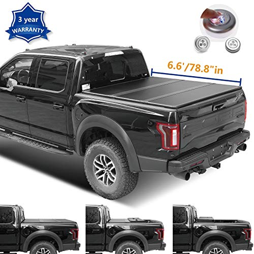 Riseking 6.6ft Hard Tri Fold Truck Bed fit Chevy Silverado GMC Sierra 2014-2018 1500 & 2015-2018 2500HD 3500HD (NOT fit Track Sys. & Roll Bar Models) Qty1 Tonneau Cover Assembly+LED Lamp+Instruction