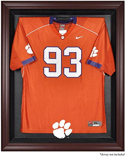 Clemson Tigers Mahogany Framed Logo Jersey Display Case by Mounted Memories