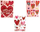 Valentines Day Fun Heart Window Clings - 3 Pack