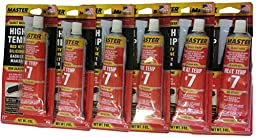 Master High Temperature Red RTV Silicone Gasket Maker Sealant 3 Ounce Tube 6 Pack