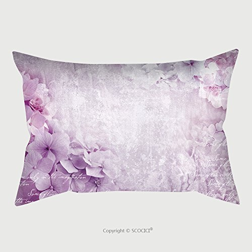 Custom Microfiber Pillowcase Protector Floral Postcard. Can Be Used As Greeting Card, Invitation For Wedding, Birthday And Other Holiday Happening. Hydrangea Flowers. Art Floral Grunge Background. B