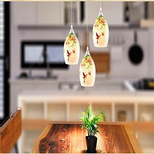 modern chandelier,Modern LED Pendant Light Chandelier LED Pendant Lighting Idyllic chandeliers three-painted glass dining chandelier lamp living room study room light 3 chassis 61cm Head Diameter