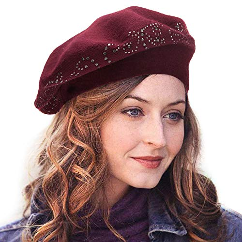 LADYBRO Top Rhinestones Double Layers Wool Winter Berets Knitted Hats for Women Caps (Burgandy) by LADYBRO