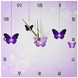 3dRose DPP_78670_2 Cute Dark and Light Purple Dangling Butterflies Wall Clock, 13 by 13-Inch