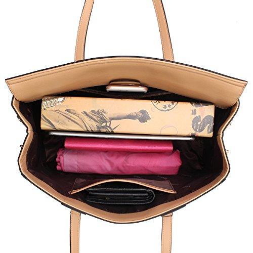 Sac main femmes Les cuir tissage bandoulière Kadell Design en à à Noir Clamshell Kaki Sacs Sac A1qRwIx