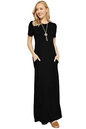 d4c1a58c2c0 Maxi Dresses for Women Solid Lightweight Long Casual Short Sleeve W Pocket- Black (