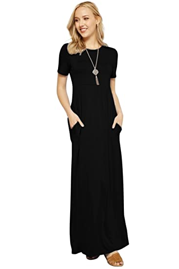 2dda9b5ff34 Maxi Dresses for Women Solid Lightweight Long Casual Short Sleeve W Pocket  at Amazon Women s Clothing store
