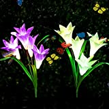 Adamluvs Solar Flower Lights, Solar Lights Outdoor, Multi-Color Changing LED Flower Lights, 2 Pack Lily Flowers with Bonus 12 Pcs Artificial Butterflies (Purple&White)