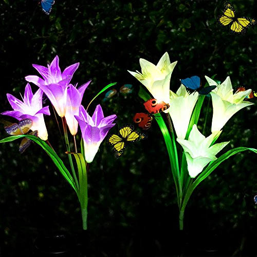 Adamluvs Solar Flower Lights, Solar Lights Outdoor, Multi-Color Changing LED Flower Lights, 2 Pack Lily Flowers with Bonus 12 Pcs Artificial Butterflies (Purple&White) by Adamluvs