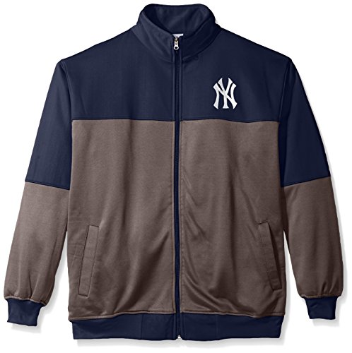 MLB New York Yankees Men's Poly Fleece Yoked Track Jacket with Wordmark Logo, 3X/Tall, Navy/Gray