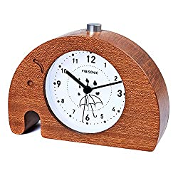 Fibisonic-Alarm Clock Wooden Animal Analog Snooze Small Cute Elephent Table Quartz Clock No Ticking Sounds Alarm Clock with Nightlight
