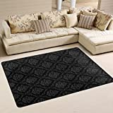 SAVSV 3' x 2' Area Rug Carpet Doormat Lightweight Printed Black Vintage Pattern Easy to Clean For Living Room Bedroom