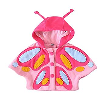 Butterfly Costume Coat, Misaky Kids Girl Winter 3D Hooded Coat Cloak Jacket Thick Clothes for 2-6 Years (3-4T/Tag 110, Pink)