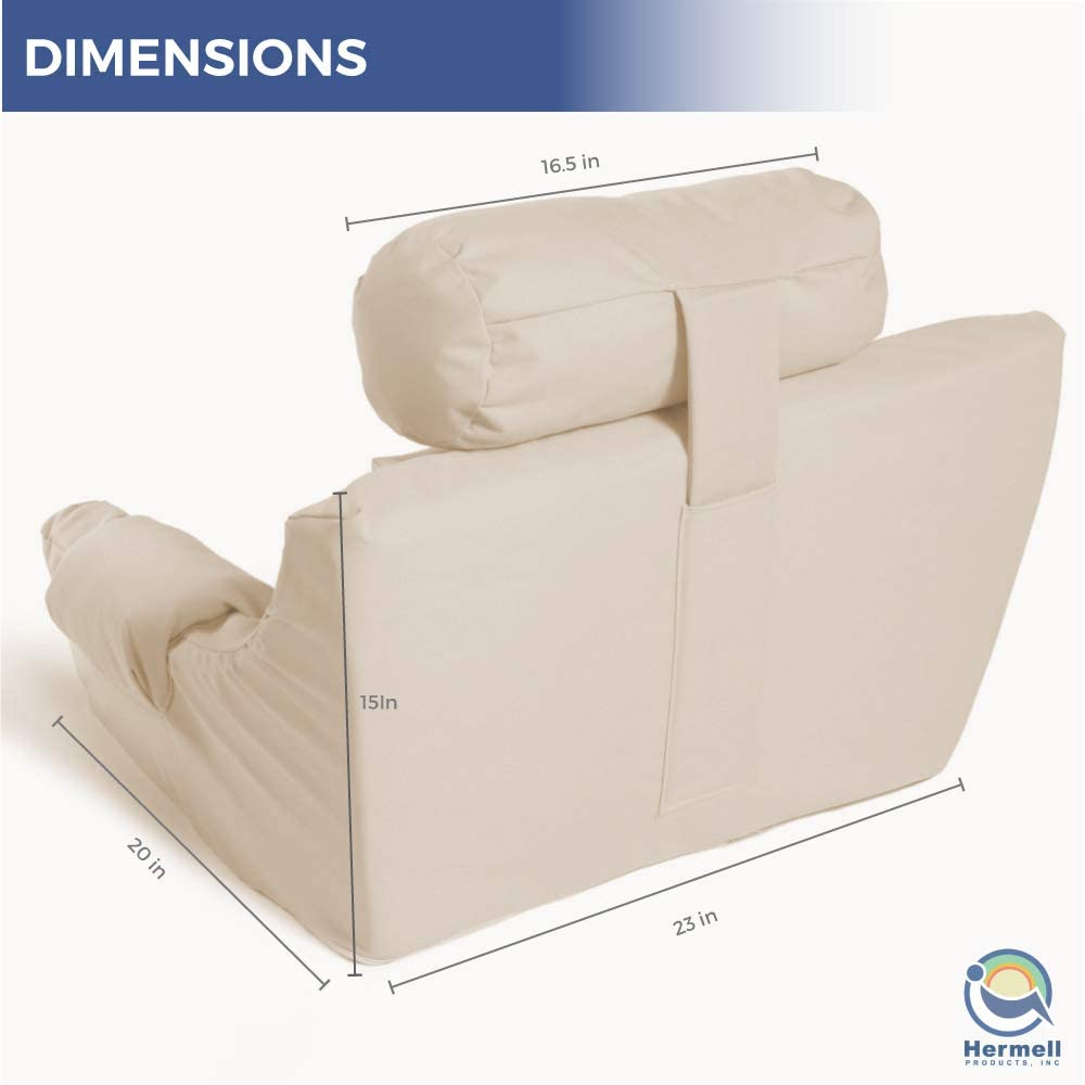 Hermell Deluxe Extra Firm Bed Lounger Reading Pillow, Cream: Home & Kitchen