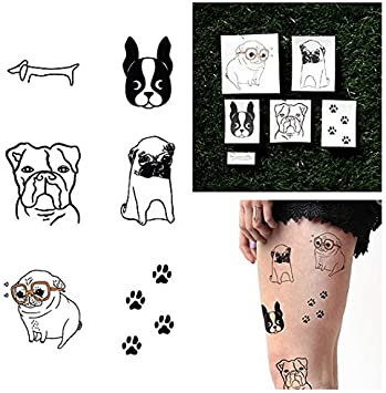 Tatuaje Temporal Tattify - Perros - Estilo Perrito (Juego de 12 ...