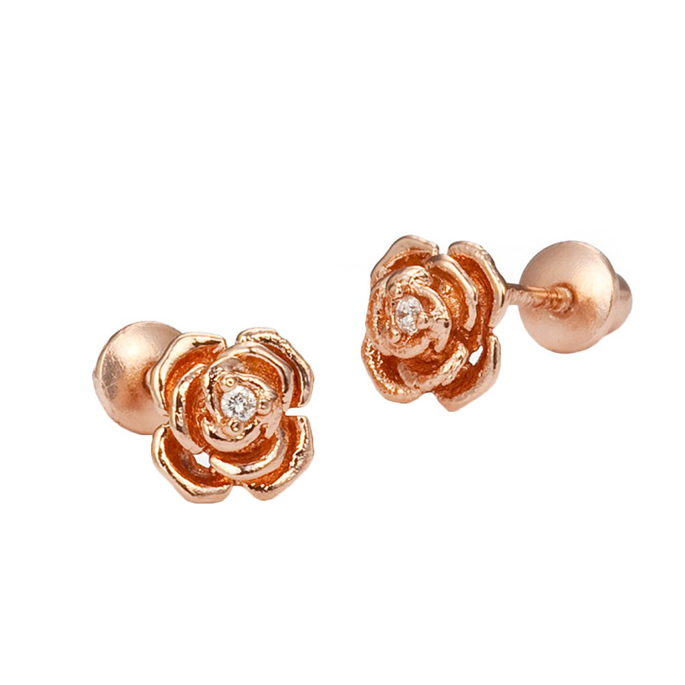 Rose Gold Tone Rose Screwback Girls Earrings Lovearing SE11PQ