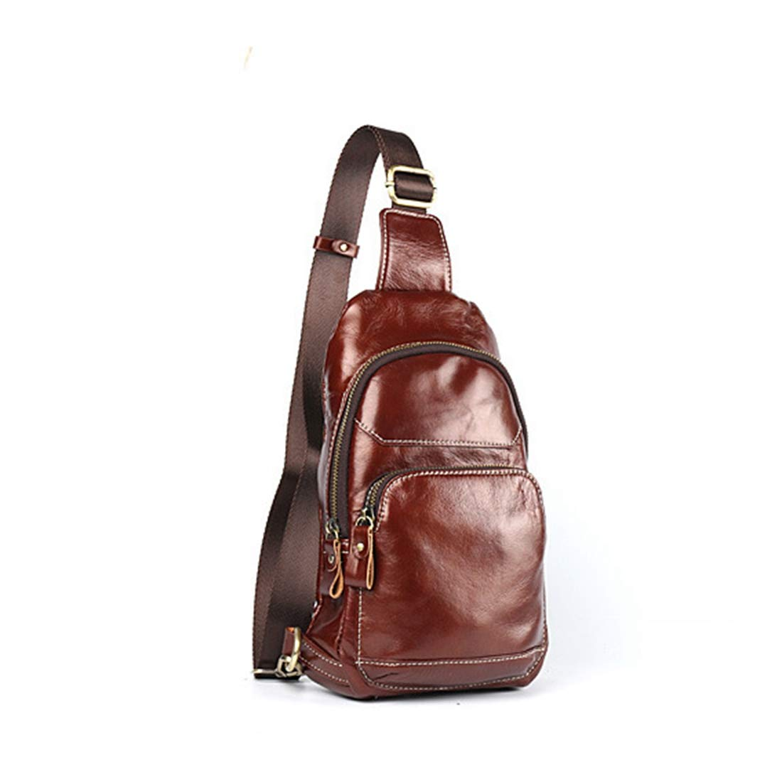 Carriemeow Men Chest Bag Genuine Leather Business Leisure One Shoulder Crossbody Bag Satchel Work Out Travel Bag Color : Red-Brown