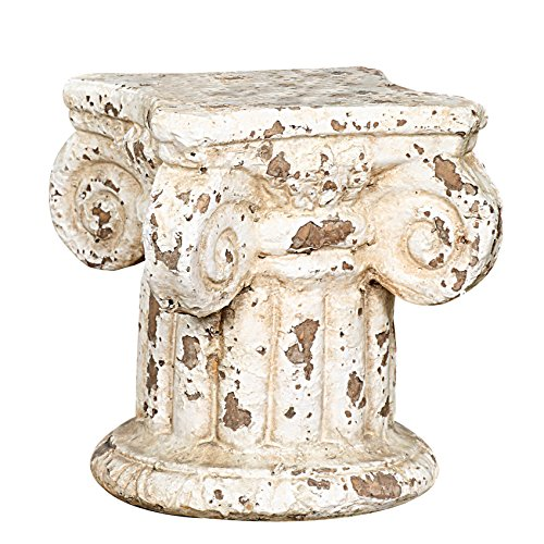 Creative Co-Op Distressed Terracotta Column Pedestal 7 in. H x 6.25 in. W x 6.25 in. D Cream 1 Piece]()