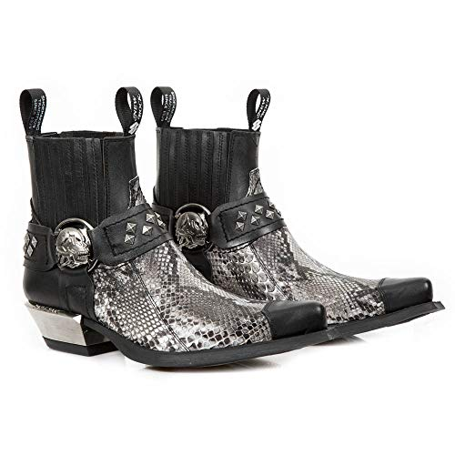 Punk Ankle New Western Boots Gothic 7995PT Cowboy Unisex Leather M Rock Heavy Women's Ladies Metallic S22 Black Heel Men's Uqgw6q1rS