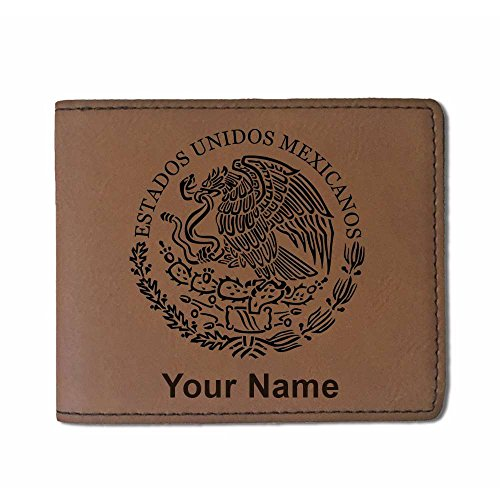 Faux Leather Wallet - Flag of Mexico - Personalized Engraving Included (Dark Brown)