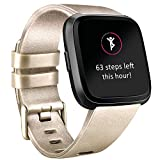 Tobfit Compatible Bands Replacement for Fitbit Versa, Silicone Wristbands Versa Accessories for Women and Men (Champagne Gold, Small)