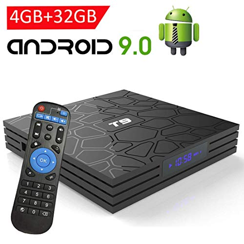 Android TV Box 9.0,EASYTONE T9 Android TV Box 4GB RAM 32GB ROM Quad Core/ 2.4G+5G Dual WiFi/ 64 Bits/ BT4.0/ H.265/ 3D UHD 4K Internet Smart TV Box
