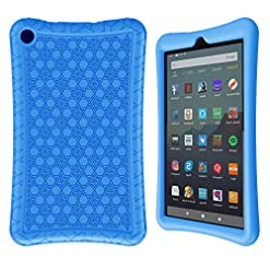 Surom Silicone Case for All-New Amazon Fire 7 2019/2017, Light Weight Shock Proof Protective Soft Silicone Kids Friendly Back Cover Case for Fire 7 Inch 2019/2017 (9th/7th Generation), Blue