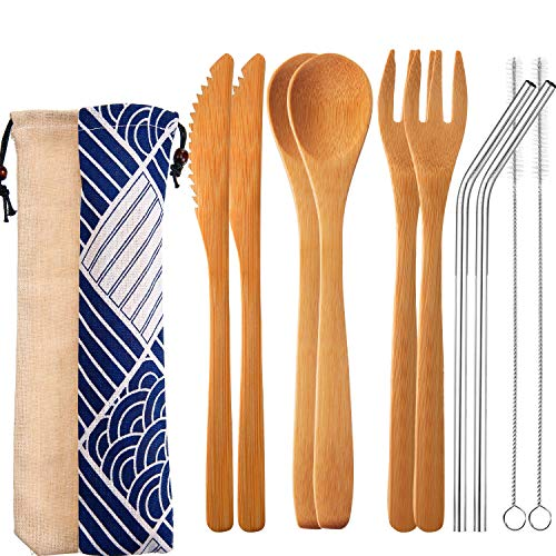 Tatuo 4 Set Bamboo Utensils Cutlery Travel Camping Flatware Set 7.5 Inches Bamboo Knife, Fork, Spoon, Metal Straw with Clean Brush