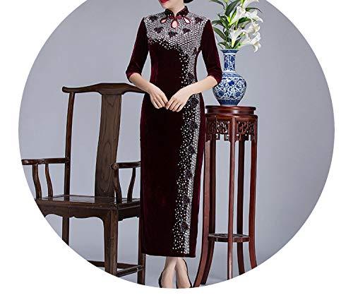 ホスト温かいログチャイナドレス手作りビーズファッションのパフォーマンスレトロステージのベルベット長いのドレス,ナツメ半袖,XXXL