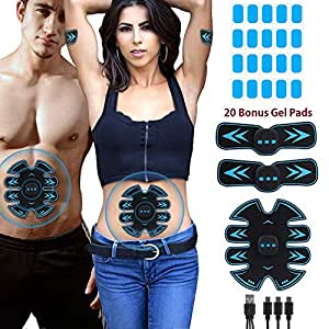 Eon Concepts Muscle Toner Ultimate Abs Stimulator with 10 Extra Gel Pads & E-Book   EMS Abdominal Toning Belt for Men & Women   Arm & Leg Trainer   Portable Office, Home & Gym Fitness Equipment