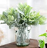 Skyseen 10PCS Artificial Flowers Flocked Dusty Miller Plant for Home Decor