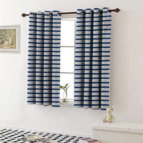 shenglv Harbour Stripe Blackout Draperies for Bedroom Horizontal Nautical Stripes Pattern Hand Drawn Marine Sea Illustration Curtains Kitchen Valance W72 x L63 Inch Night Blue White