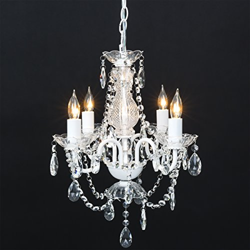 Best Choice Products Classic Shabby Chic Style Acrylic Crystal Chandelier w/Metal Frame for Dining Room, Foyer - (Shabby Chic White Chandelier)