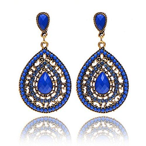Women Earrings Fashion, Paymenow Clearance Girls Bohemian Rhinestone Crystal Stud Earrings Retro Drop Earrings Eardrop (Blue)
