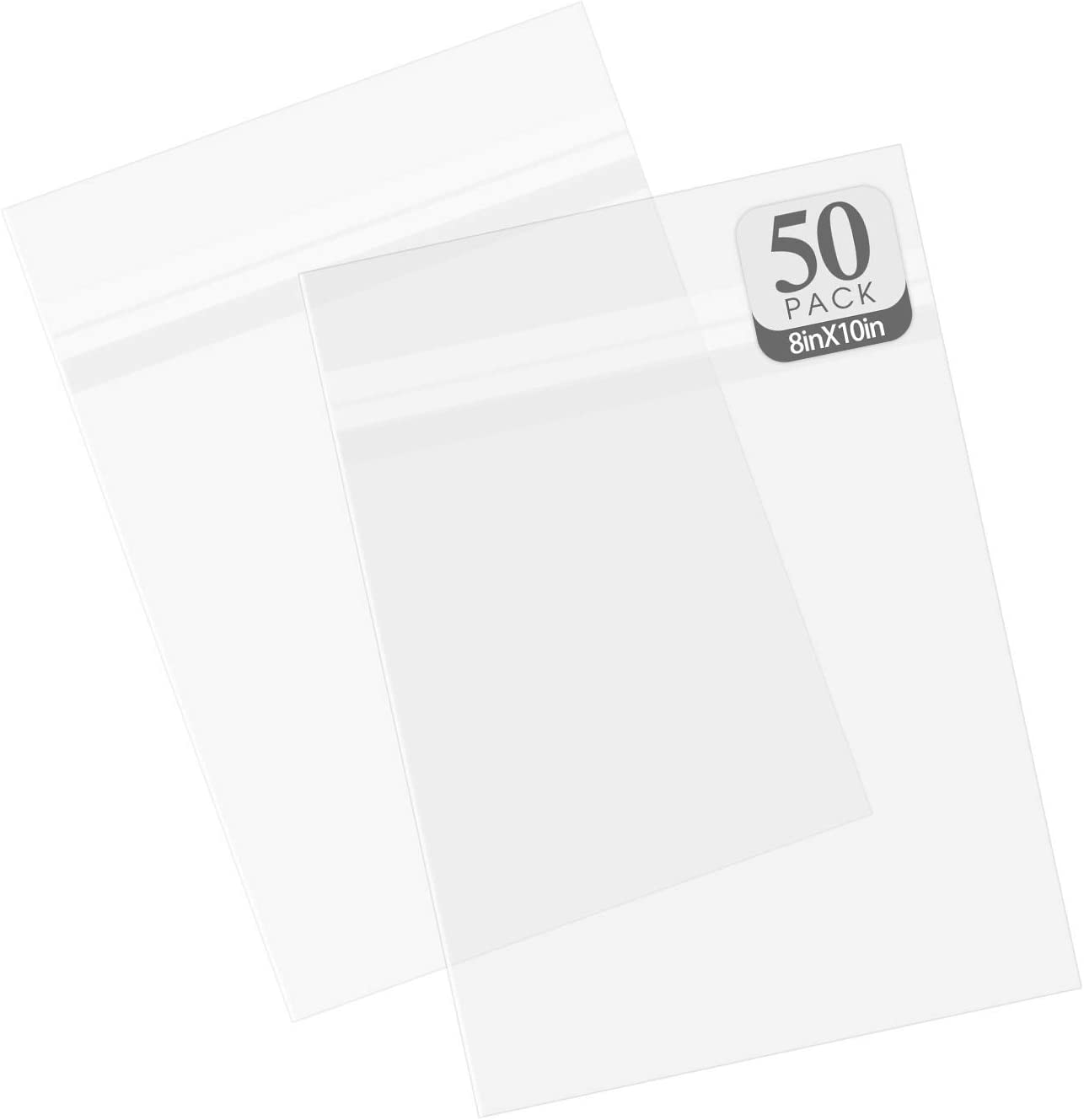 Golden State Art, Pack of 50 Acid-Free Crystal Clear Sleeves Storage Bags for Framing Mats Mattes (8 3/8 x 10 1/8 inches)