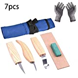 7pcs Wood Carving Tools Set+Cut Resistant Gloves,Spoon Carving Hook Knife, Wood Carving Whittling Knife, Chip Carving Detail Knife, Leather Strop and Polishing Compound