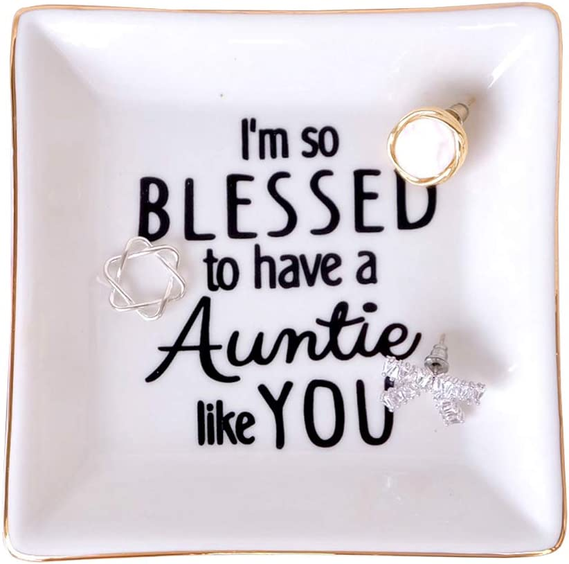 PUDDING CABIN Aunt Gifts Trinket Dish - I'so Blessed to Have a Auntie Like You - Birthday Gift for Auntie, Gift for Aunt from Nephew, Gift from Niece to Aunt, Special Aunt Gift, Aunts Birthday Gift