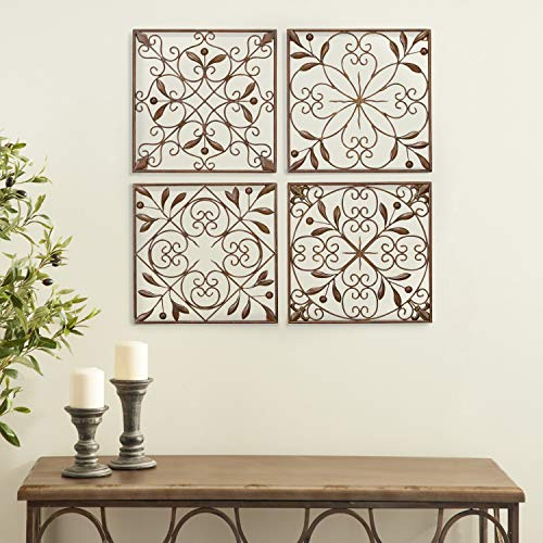 Deco 79 50035 Metal Wall Decor Set of 4 (Metal Decor Wall Medallion)