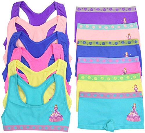 ToBeInStyle Girl's Pack of 6 Set of Bras & Boyshorts - UmbrellaPrincess - Large