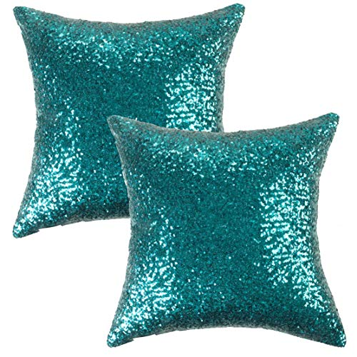 (Kevin Textile Sequin Decor Pillow Cases Sequins New Year Party/Wedding Decorative Throw Cushion Cover Sham, Hidden Zipper Design(45cmx45cm),(2 Pieces,Teal))