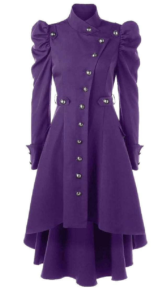 Purple Spodat Women's Multi Button Design Medieval Skirted Duster Coat
