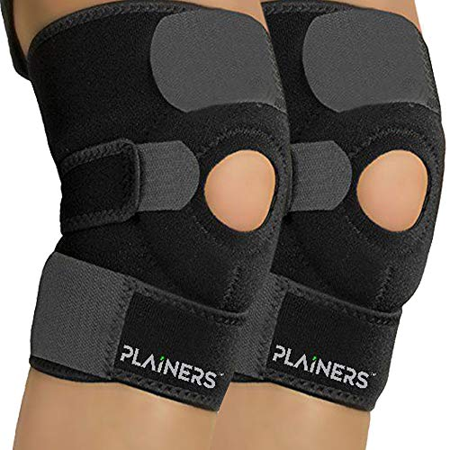 Plainers 2 Pack Knee Brace Support & Patella Stabilizer for Men & Women – Relieves ACL LCL MCL & Arthritis Pain. Perfect for Running Hiking Soccer Basketball Tennis & Squats. (Large – 16″ – 20″)