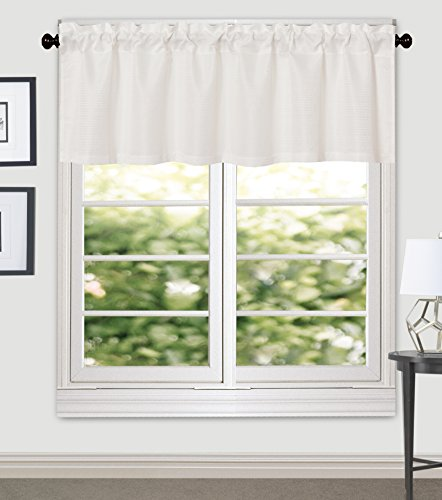 Jacquard Polyester Valance - Aiking Home Crystal Jacquard Window Valance, 56 By 16 Inches, Pure White