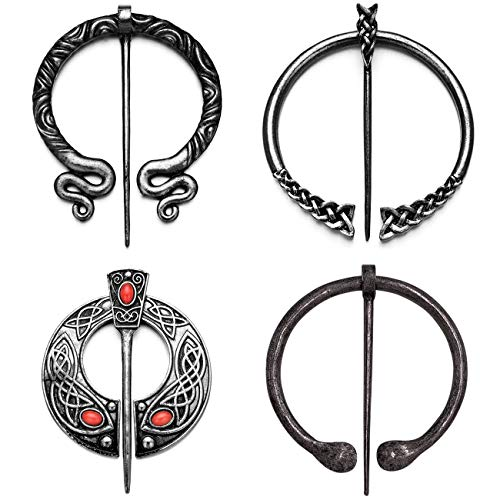 XGALA 4 Pcs Vintage Viking Brooches Pins Medieval Cloak Pin Shawl Clasp Penannular Scarf Brooch Pin for Women Clothing Accessories Antique Silver Tone
