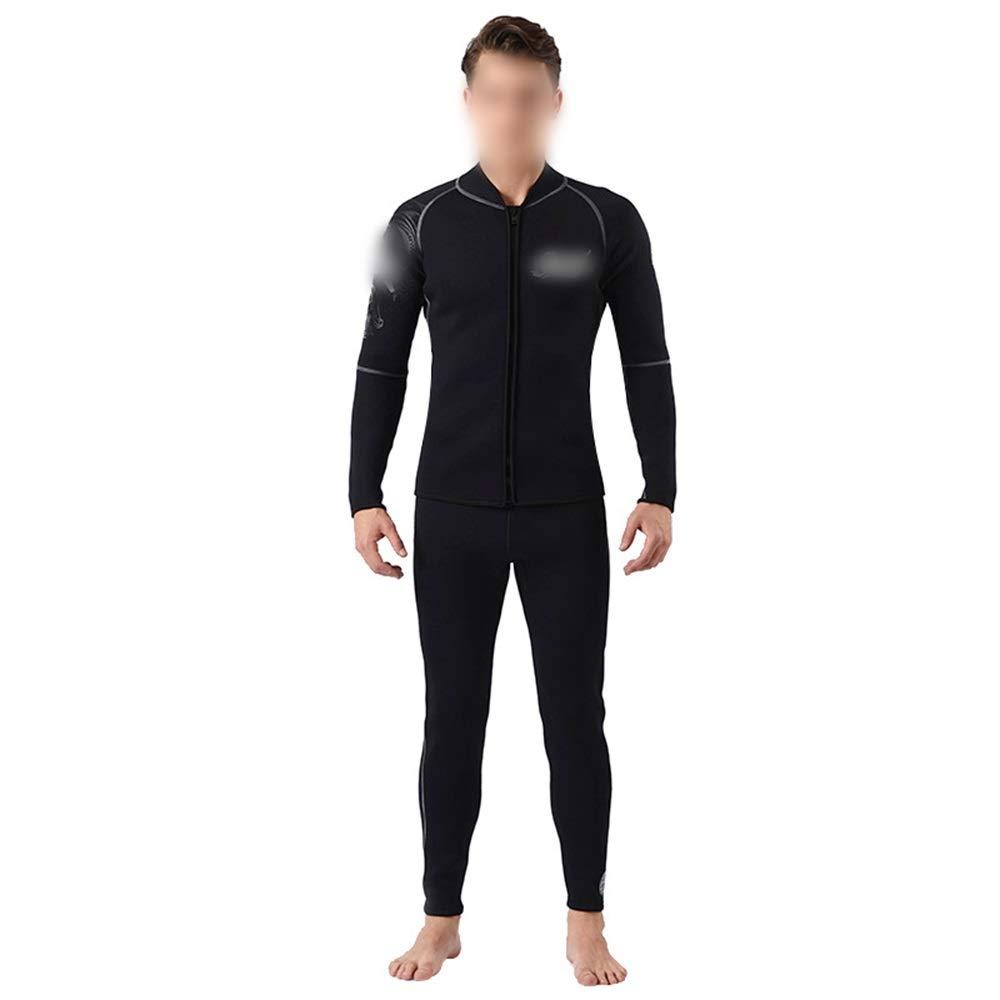 Ocmeacy プラス 裏地 3ミリメートル ダイビング スーツ 防水 マザー ウェットスーツ セット 暖かい 分割カップ ルウェットスーツ 熱 水着 シャツ 水着 (色 : 黒, サイズ : XL) 黒 X-Large