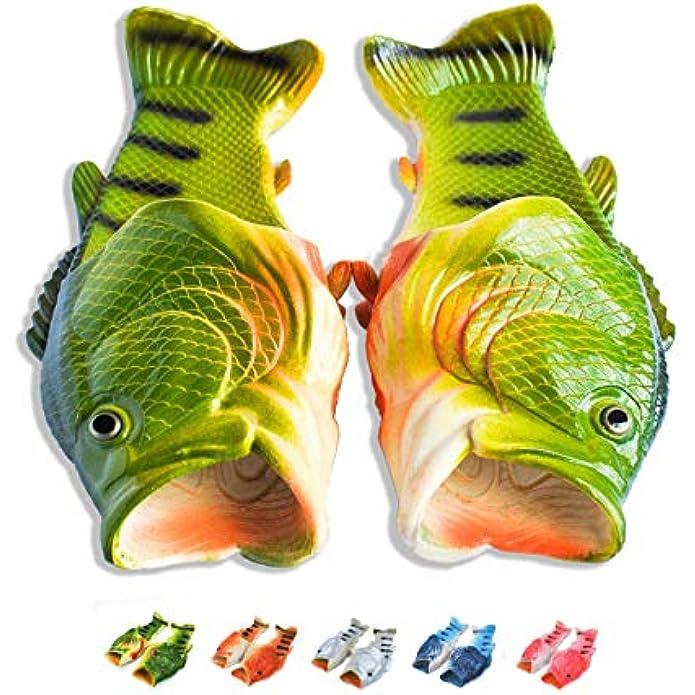 Coddies Fish Flip Flops | The Original Fish Slippers | Funny Gift, Unisex Sandals, Bass Slides, Pool, Beach & Shower Shoes | Men, Women & Kids